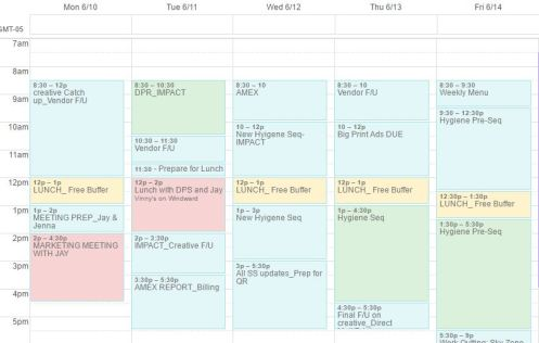 Calendar blocking example, lisa live well, tips for organization, get more time out of your day
